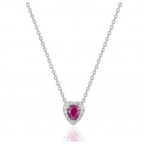 Chaine de cou en or blanc 18 carats et pendentif or blanc et diamant 0,14 carat et rubis