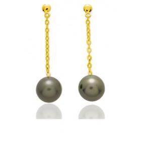 Boucles d'oreilles pendants en or 18 carats et perles de Tahiti rondes 8mm.