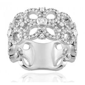 Bague or blanc 18 carats, rubis ovale  et diamant 1,30 carat