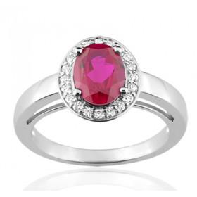 Bague or blanc 18 carats, rubis ovale  et diamant 0,14 carat