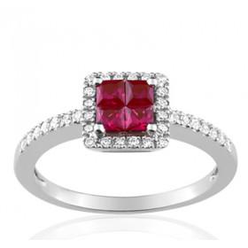 Bague or blanc 18 carats, rubis carré et diamant 0,20 carat