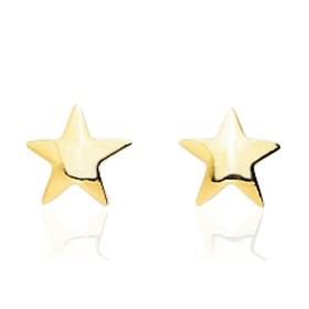 Boucles d'oreilles en or jaune 18 carats étoiles pour filles;