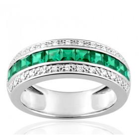 Bague en or 18 carats, diamant 0,16 carat et émeraude carrée en barrette