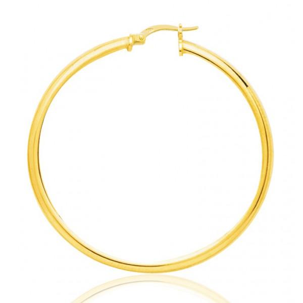 boucles d'oreilles femme créoles or jaune 18 carats de diamètre 50 mm