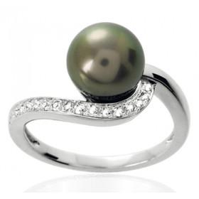 Bague or blanc 18 carats, diamant 0,12 carat et perle de Tahiti 8 mm