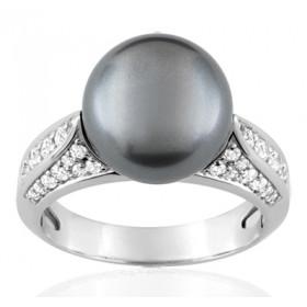 Bague or blanc 18 carats, diamant 0,44 carat et perle de Tahiti 11 mm