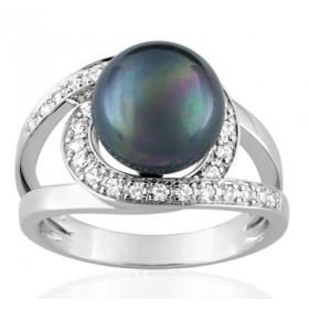 Bague or blanc 18 carats, diamant 0,25 carat et perle de Tahiti 10 mm
