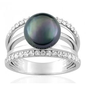 Bague or blanc 18 carats, diamant 0,36 carat et perle de Tahiti 9 mm