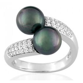 Bague or blanc 18 carats, diamant 0,28 carat et perle de Tahiti 8 mm