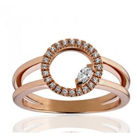 Bague or rose 18 carats, rubis ovale  et diamant 0,20 carat