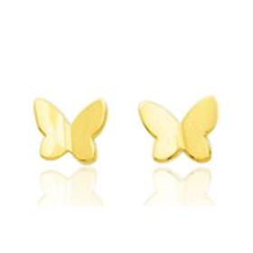 Boucles d'oreilles en or jaune 18 carats papillons pour filles.