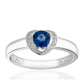 Bague en or blanc 18 carats, diamant 0,07 carat et saphir