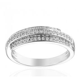 Bague or blanc 18 carats multi-rangs  et diamant 0,27 carat
