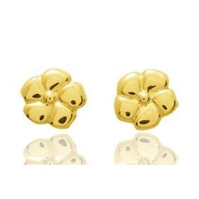 Boucles d'oreilles en or jaune 18 carats fleurs pour filles, fermoir à vis.