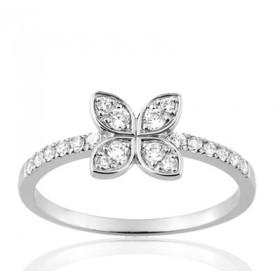 """Bague or blanc 18 carats  et diamant 0,29 carat """"fleur de diamant"""""""