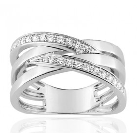 Bague or blanc 18 carats multi-rangs  et diamant 0,24 carat