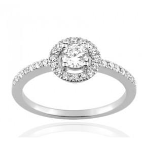 Bague or blanc 18 carats  et diamant 0,54 carat