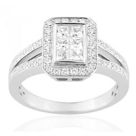 Bague or blanc 18 carats  et diamant 0,68 carat
