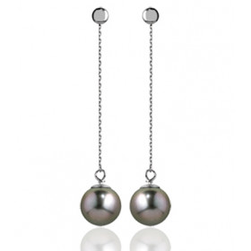 Pendants or blanc 18 carats et perles de Tahiti 8/9 mm