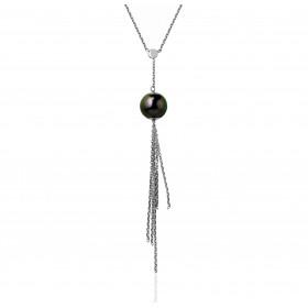 Chaine de cou en or blanc 18 carats et pendentif or blanc et  perle de Tahiti 9 mm