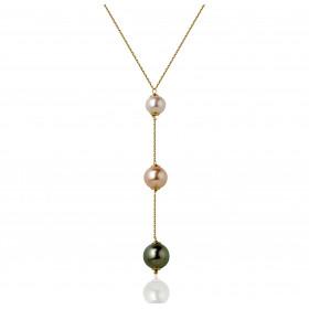 Chaine de cou en or jaune 18 carats et pendentif perles en trilogie