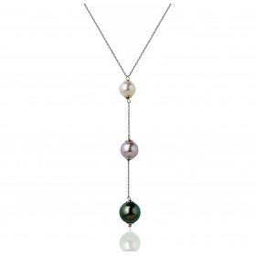 Chaine de cou en or blanc 18 carats et pendentif perles en trilogie