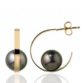 Pendants or jaune 18 carats et perles de Tahiti 8 mm