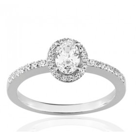 Bague or blanc 18 carats  et diamant 0,61 carat