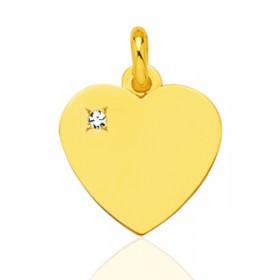 Pendentif or jaune personnalisable cœur et diamant à graver.