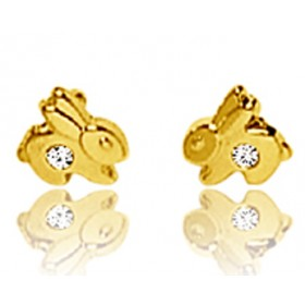 Boucles d'oreilles en or jaune 18 carats lapins et zirconium pour filles.
