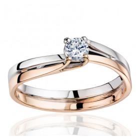 Bague Fiana joaillerie deux ors 18 carats, diamant 0,20 carat