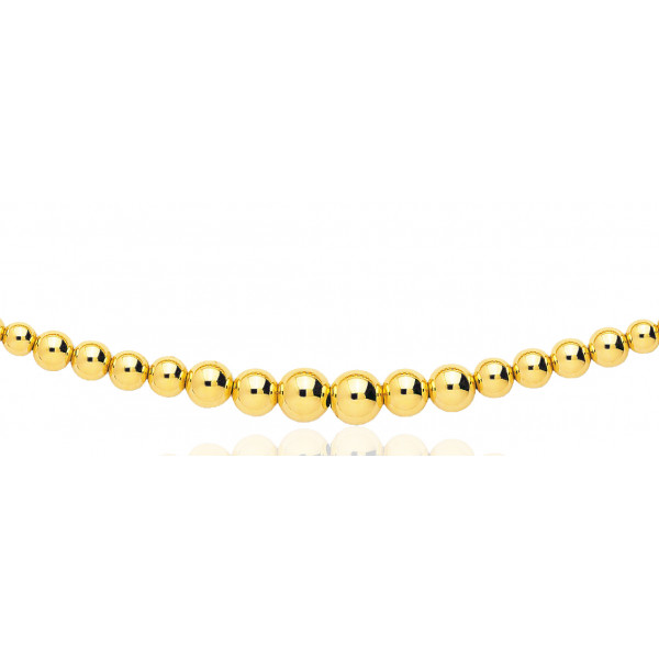 chaine or jaune 18 carats maille boules en chute