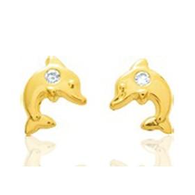 Boucles d'oreilles en or jaune 18 carats dauphins et zirconium pour filles.