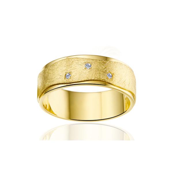 Alliances Angeli Di Bosca or jaune 18 carats et diamants 0,030 carat