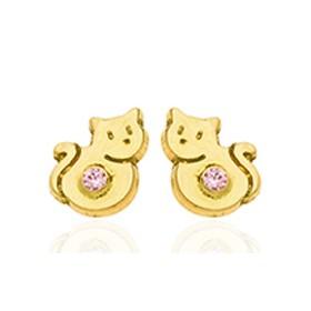 Boucles d'oreilles en or jaune 18 carats chatons et zirconium pour filles.