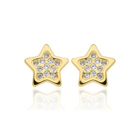 Boucles d'oreilles en or jaune 18 carats étoiles et zirconium pour filles.
