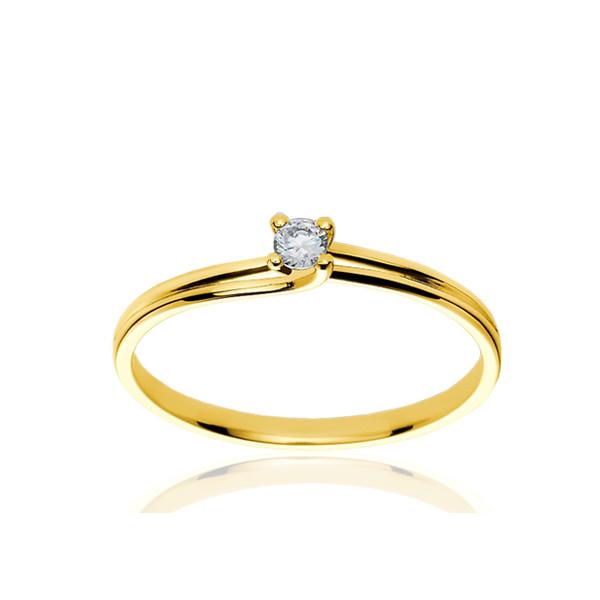 Bague solitaire en or jaune 18 carats et diamant 0,10 carat serti quatre griffes