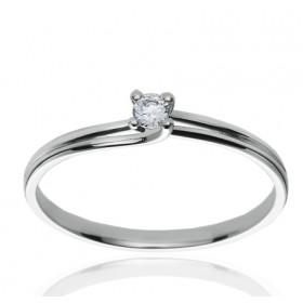 Bague solitaire en or blanc 18 carats et diamant 0,10 carat serti quatre griffes