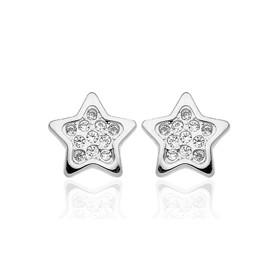 Boucles d'oreilles en or blanc 18 carats étoiles et zirconium pour filles.