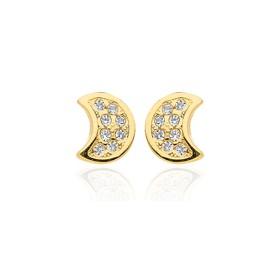 Boucles d'oreilles en or jaune 18 carats clair de lune  et zirconium pour filles.