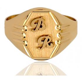 Chevalière or 18 carats ovale et personnalisable pour hommes.