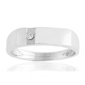 Chevalière or 750/1000 et diamant 0,06 carat pour hommes.