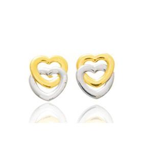 Boucles d'oreilles deux  ors  18 carats cœurs pour petites filles.