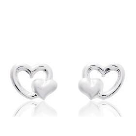 Boucles d'oreilles en or blanc 18 carats cœurs pour filles