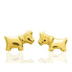 Boucles d'oreilles en or jaune 18 carats bébé chien, fermoir poussette
