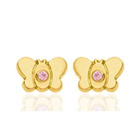 Boucles d'oreilles en or jaune 18 carats clair de lune  et zirconium rose pour filles.