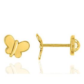 Boucles d'oreilles en or jaune 18 carats papillons pour filles, fermoir à vis.