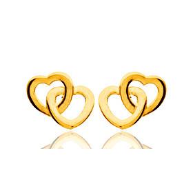 Boucles d'oreilles en or jaune 18 carats double cœurs, fermoir poussette