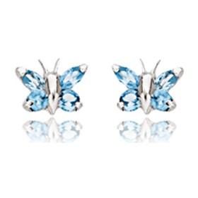 Boucles d'oreilles en or blanc 18 carats papillons et zirconium bleu pour filles.