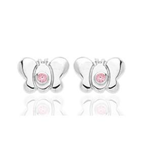 Boucles d'oreilles en or blanc 18 carats clair de lune  et zirconium rose pour filles.